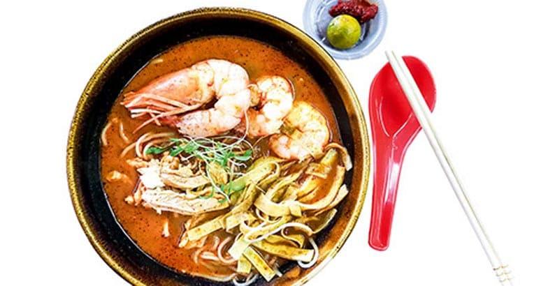 Authentic delicious Sarawak Laksa with big prawns