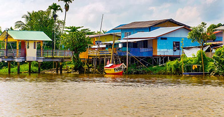 A village by the river in Sarawak, Kuching, Malaysia